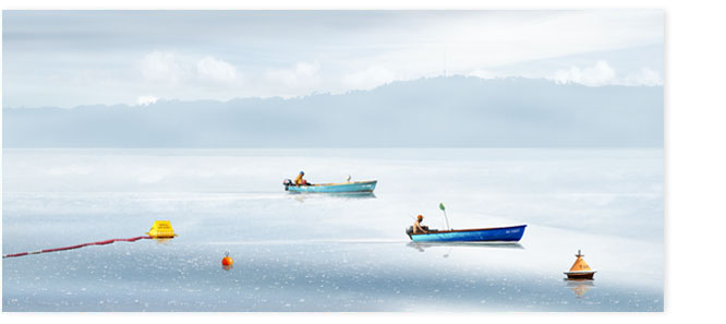 Bild Uetliberg 002. Fischer bei Morgenstimmung auf dem Zürisee.
