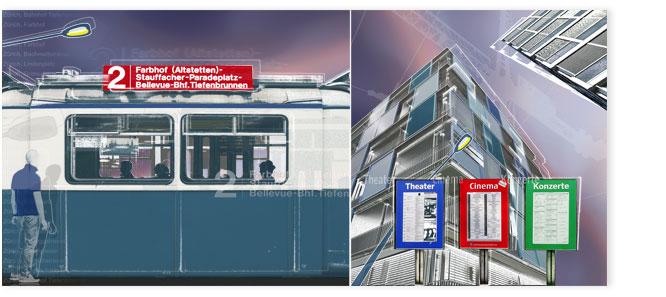 Bildcollage: Tram 2 und moderne Architektur in Oerlikon violett eingefärbt.