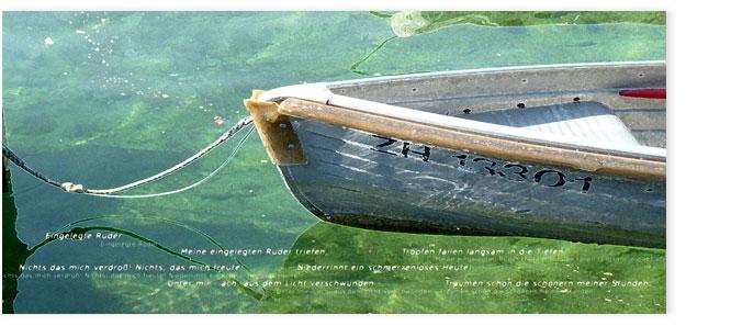 Ruderboot auf Zürisee mit grünem Seewasser.