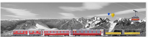 Rhätische Bahn mit Alpenpanorame und Corvatsch Gondelbahn.
