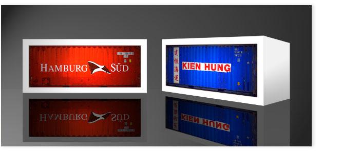 Containerleuchten: Hamburg und Kien Hung.