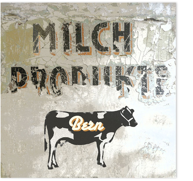 Milchprodukte Bern. Wandgraffiti auf verwittertem Hintergrund.