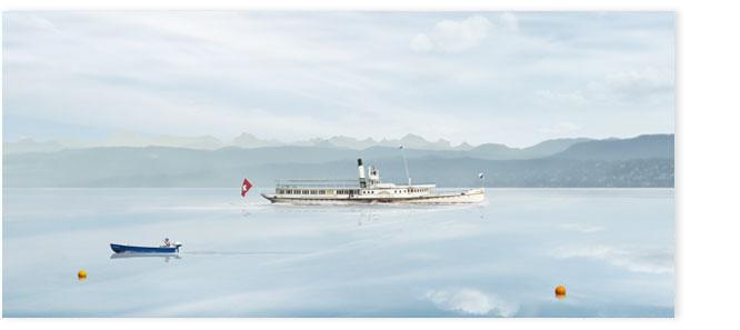 """Seeschiff """"Stadt Zürich"""" bei Morgenstimmung auf dem Zürichsee"""