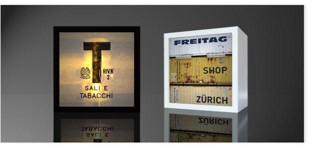Quadratleuchte: Tabacchi und Freitag Container.