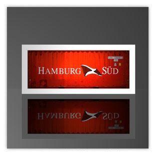 Leuchtkästen als Containerleuchte. Hier mit Motiv Hamburg Süd 004