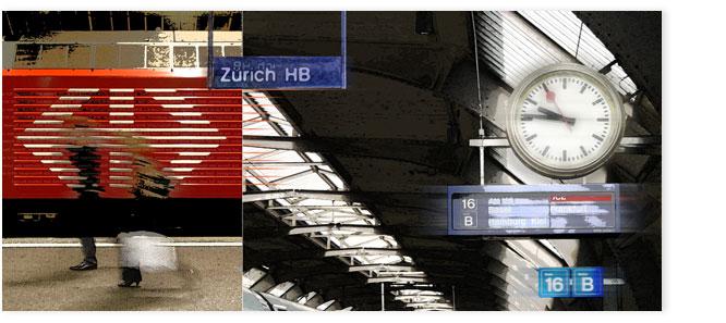 Bildcollage: verschwommene Person vor roter Lokomotive im HB Zürich. Im Hintergrund: Bahnhofsuhr und Anzeigetafel.