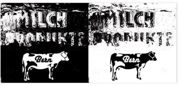 Milchprodukte Bern. Bildcollage schwazz, weiss.