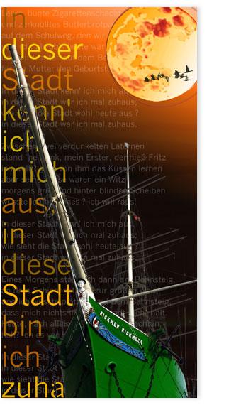 Hamburgensie 096a orange Segelschiff Rickmer Rickmers