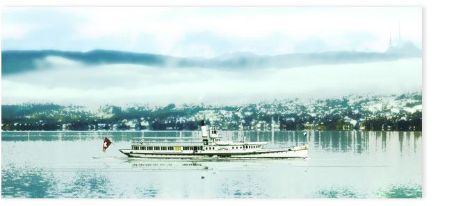 Seeschiff Stadt Zürich mit Uetliberg.
