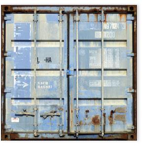 "Container blau 202, ""Nach Haus!"""