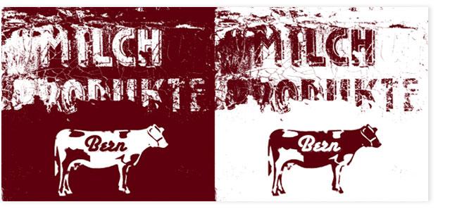 Milchprodukte Bern. Bildcollage braun, weiss.