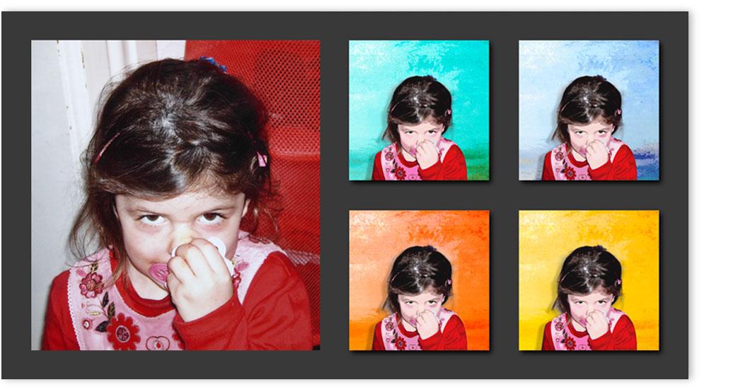 Bildbearbeitungsbeispiel Pop Art, links Vorlage / rechts Ergebnis.