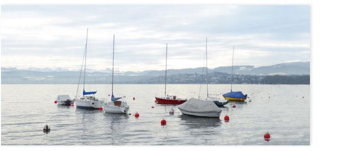 Segelboote af dem Zürisee