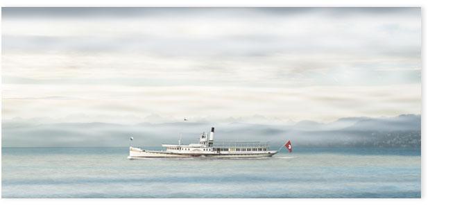 Zürisee 009c, Dampfschiff Stadt Zürich im Nebel