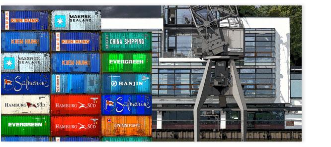 Hamburgensie 077 Container bunt mit Kran