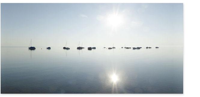 Grossformatbild: Segelboote bei Morgenstimmung vor der Ufenau