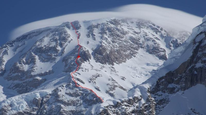 Die obere Hälfte der West-Rib-Route am McKinley mit Ausstieg auf knapp 6000 m