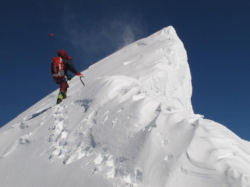 Am exponierten Gipfelgrat