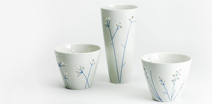 """Porzellanserie """"Blaugras"""", Vase und zwei Schalen"""