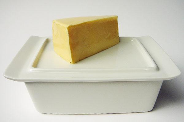 Butterdose, Unterteil auf Deckel gestellt