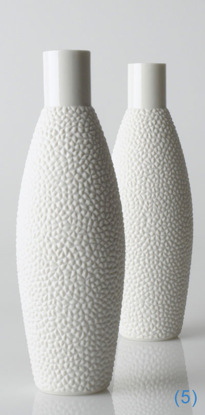 Artocarpus 3, hohe Porzellanvase mit Relief und zylindrischer Öffnung