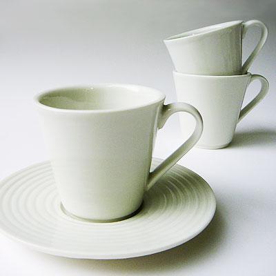 """Espressotasse mit Untertasse (Relief """"Rillen"""")"""