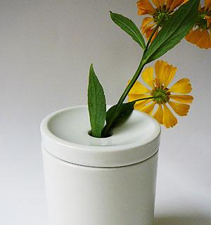 Becher mit Deckel als Vase