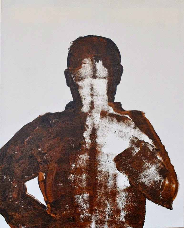 Self Portrait, Tar on canvas, 80 x 100 cm, 2014