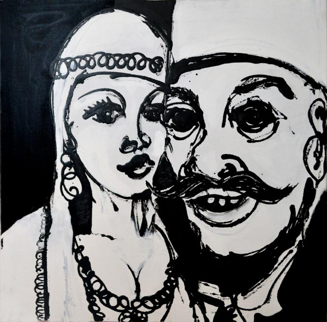Couple, Lacquer and acrylic on canvas, 65 x 65 cm, 2014