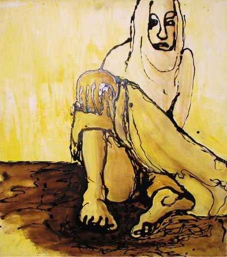 Woman, Acrylic and tar on canvas, 80 x 100 cm, 2002