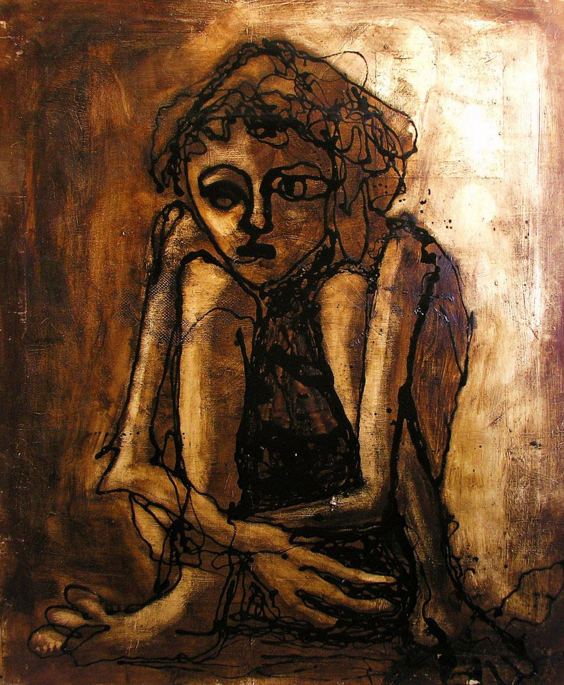 Girl, Acrylic and tar on canvas, 90 x 125 cm, 2000