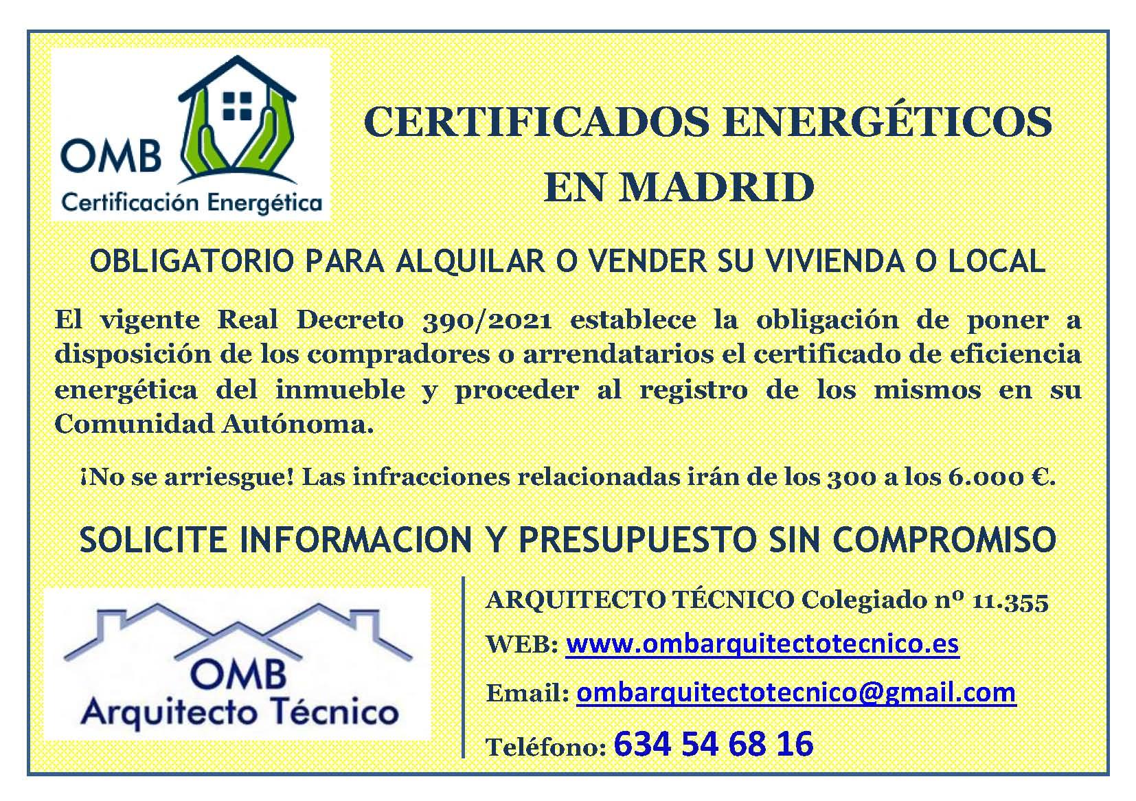certificado energ tico madrid omb arquitecto t cnico