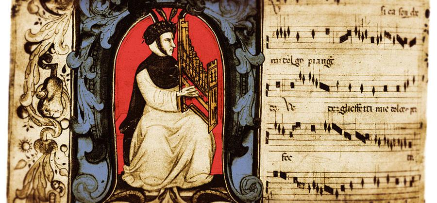 Landini tocando el organetto. Miniatura en el Codex Squarcialupi. S.XV