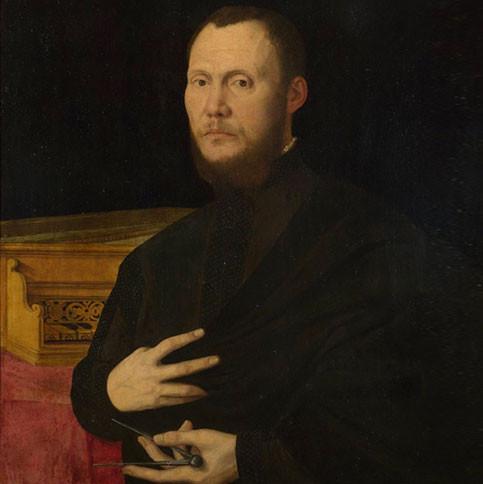 Retrato de personaje anónimo. El compás en la mano y el instrumento pueden indicar que se trate de un constructor de instrumentos musicales.