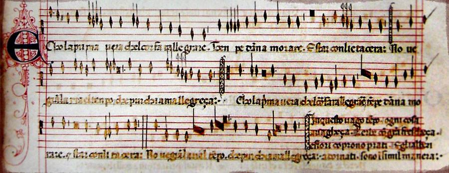 "Partitura original de la balatta ""Ecco la Primavera"", compuesto por Francesco Landini"