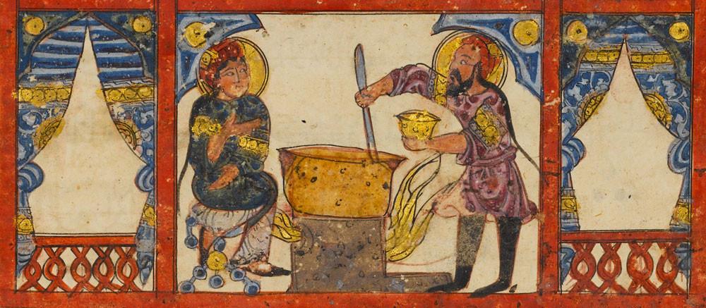 """""""Dioscórides"""". Ilustración mostrando la elaboración de medicamentos."""