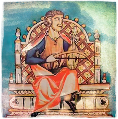 Miniatura del Libro de las Cantigas de Santa María. Se piensa que esta ilustración es un retrato de Alfonso X, tocando la viola en su trono.