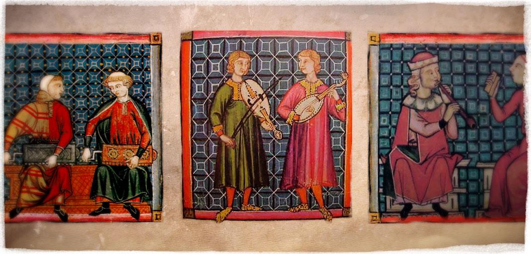 """Miniaturas de músicos con instrumentos en el llamado """"Códice de los Músicos"""", uno de los cuatro libros que se conservan de Las Cantigas de Santa María, s.XIII."""