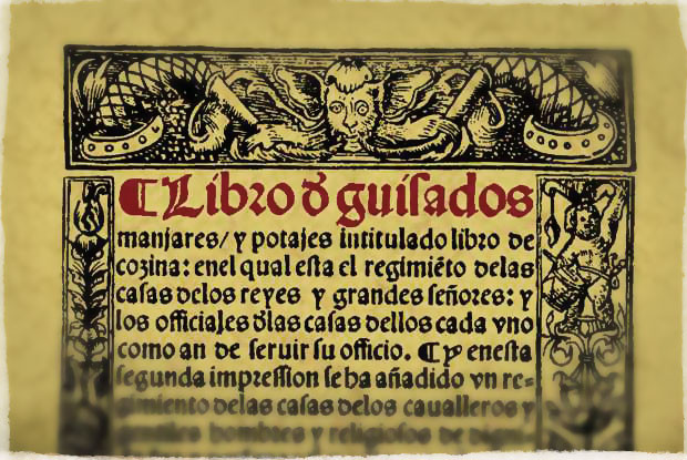 Fragmento de la portada facsímil del Libro de los Guisados, 1525.