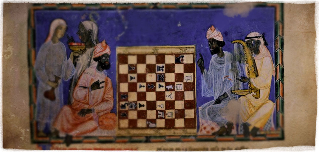 """""""Libro de los Juegos"""", de la corte de Alfonso X. Jugadores de ajedrez con arpista."""