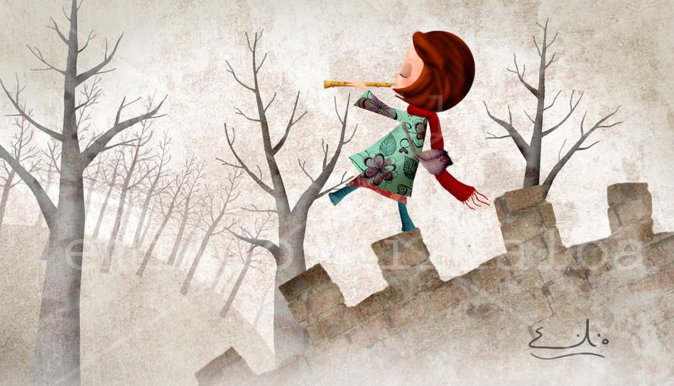 La flautista representa la imaginación: a través de ella puedes conseguirlo todo, incluso caminar por lugares insólitos.