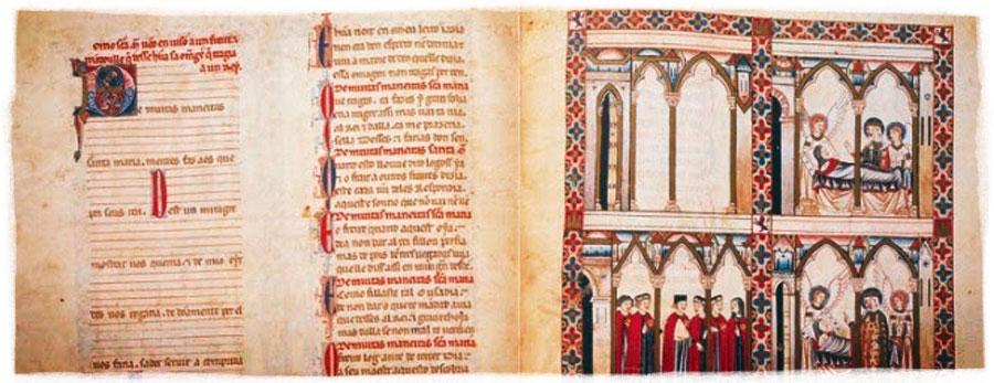 Libro de las Cantigas. A la izquierda, textos preparados para escribir la notación musical. A la derecha, ilustraciones para narrar la historia.