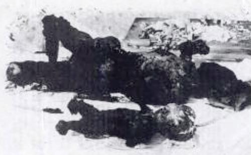 «Mutter und Kind» – Ein Flyer mit Napalmopfern, der  unter diesem Namen im Februar 1966 einer Auflage von 250 000 von Kriegsgegnern u.a. über Los Angeles , San Francisco und Disney Land aus einem Flugzeug angeworfen wurde. Der Student, der die Aktion orga