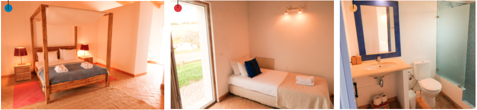 lovely wooden bed, sofa and spacious bathroom