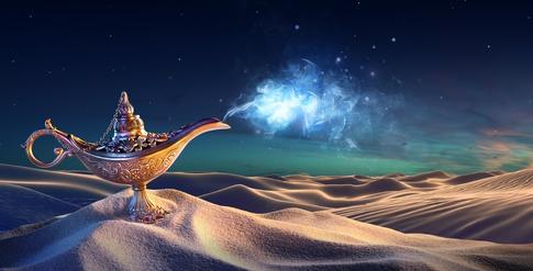 Magie, Zauber, positives Denken, Wüste, Aladin, Wunschlampe, Phantasie, Wissen