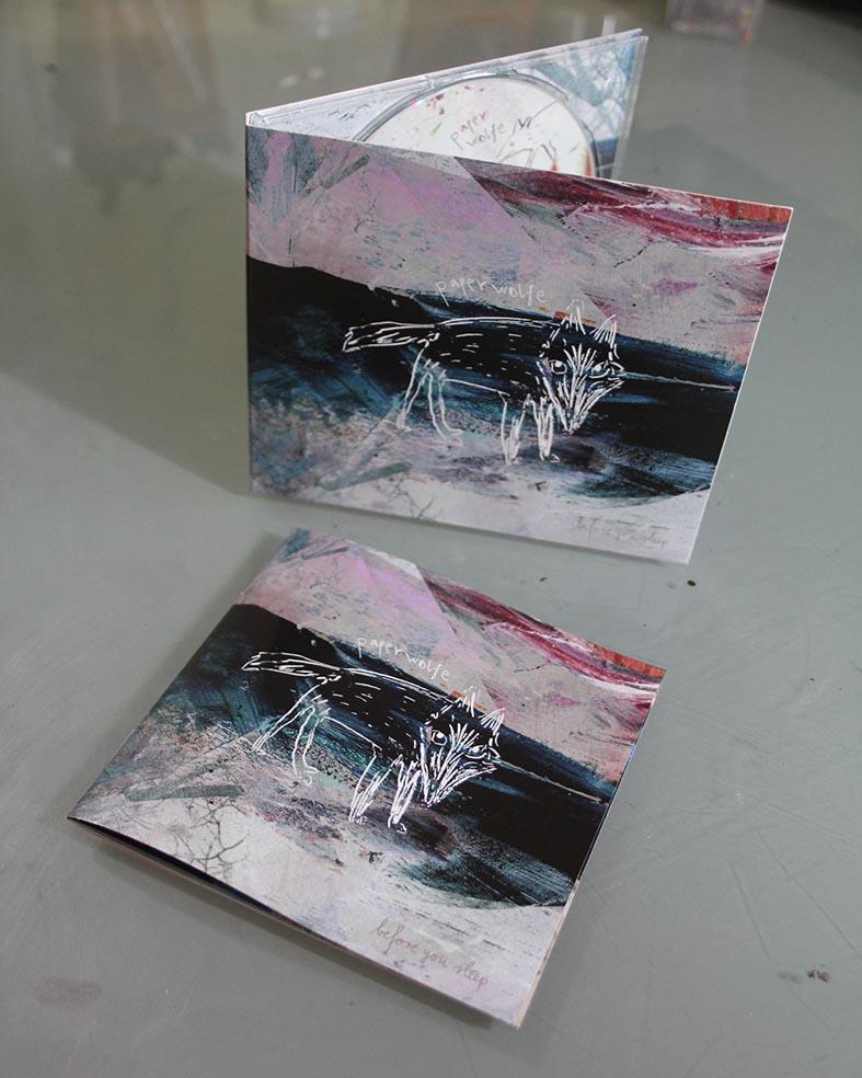 """Illustration&Gestaltung von CD, Booklet und Digipack für die EP """"Before you sleep"""" der niederländischen Band """"Paperwolfe""""(2017), Technik: Acryl auf Collagen und Zeichnungen mit Tinte und Stahlfeder, digital kombiniert und bearbeitet"""