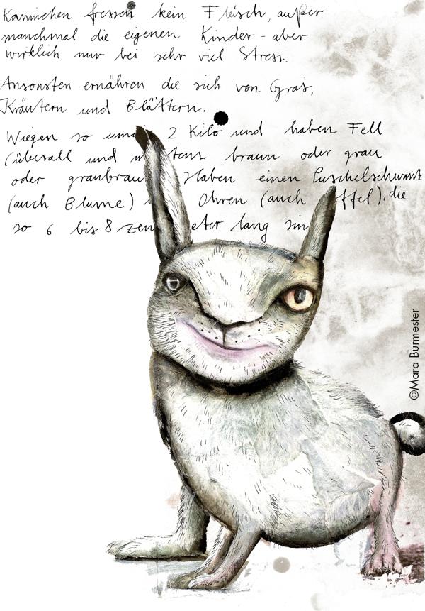 """""""Wildkaninchen, das"""", Ausschnitt aus dem Buch """"Enzükloppedi""""(freies Projekt, nicht veröffentlicht), Acryl auf Papiercollage"""
