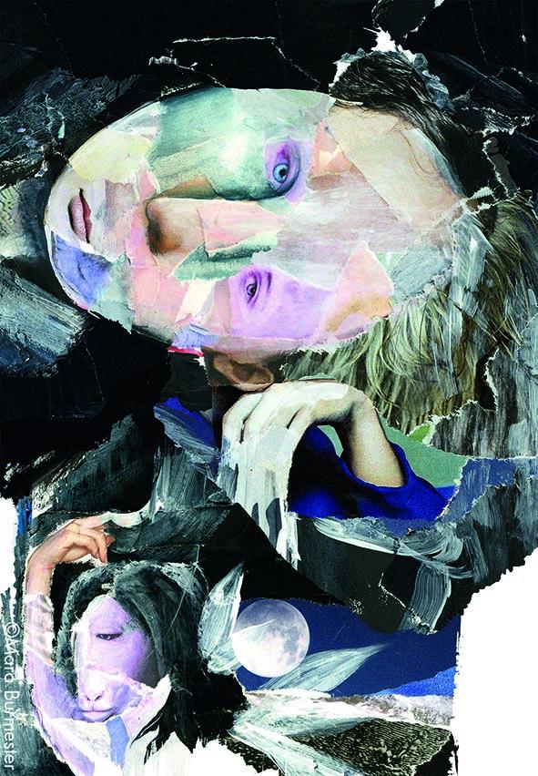 """""""Hamlet""""(Januar2016), Ausschnitt aus einer Illustration für das Theater an der Wien, Programmheft (Saison 2016/17), Acryl auf Papiercollage"""