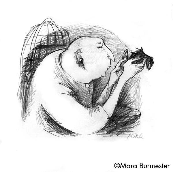 """""""Mann mit Vogel""""(November 2014), freie Arbeit, Bleistift auf Zeichenpapier"""
