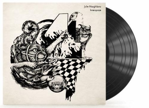 """Schallplattencover für das Berliner Label """"Sol Asylum"""" (2015), Technik: Permanentmarker auf grundiertem Karton"""